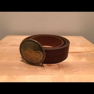 J.CREW Brown leather belt with brass buckle